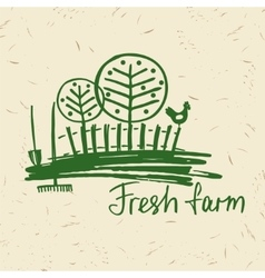 Hand drawn logo fresh farm lettering logo vector