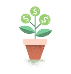 Dollar plant in the pot financial growth concept vector