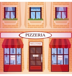 Pizzeria restaurant building in flat style vector