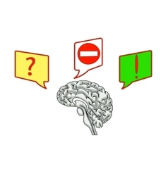 Brain with icons of questions and ideas vector