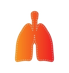 Human organs lungs sign orange applique isolated vector