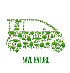 Ecological car symbol composed of green trees vector image