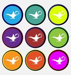 Alladin lamp genie icon sign nine multi colored vector