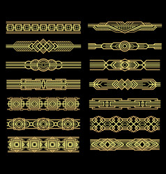 Art deco line borders set in 1920s graphic vector