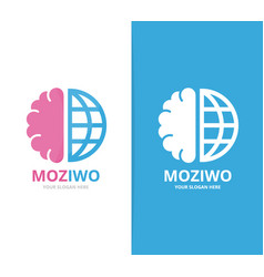 Brain and world logo combination education vector