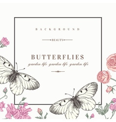 card with butterflies and flowers vector image