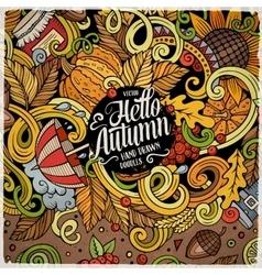 Cartoon cute doodles hand drawn autumn frame vector