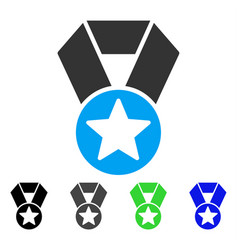 Champion medal flat icon vector