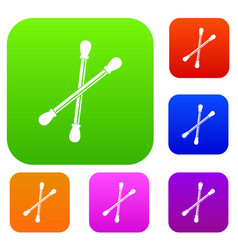 Cotton buds set color collection vector