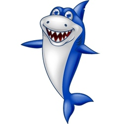 Cute Smiling Shark Cartoon vector image vector image