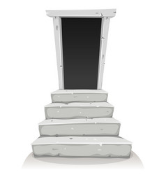 Empty door on stairway vector