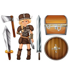 Female viking with weapons and chest vector