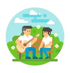 Flat design couple playing guitar vector image