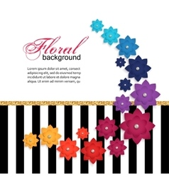 Floral greeting card with paper flower vector image