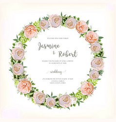 Flower circle round wreath of pink rose vector