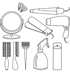 Hair accessories and barber tools line icons vector