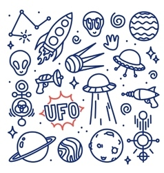 Hand drawn ink cartoon alien space set vector