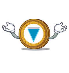 Hand up verge coin character cartoon vector