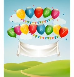 Happy birthday banner with balloons and landscape vector