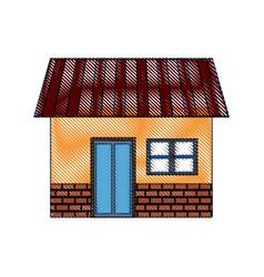 house exterior door window brick residentail icon vector image