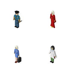 Isometric human set of doctor officer hostess vector
