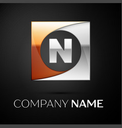 Letter n logo symbol in the colorful square on vector