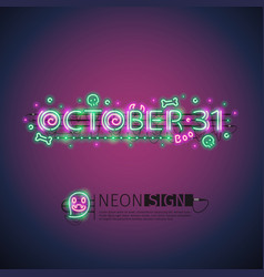 october halloween neon sign vector image