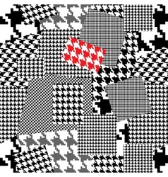 Patchwork with houndstooth ornament vector image vector image