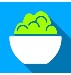 Porridge bowl flat long shadow square icon vector