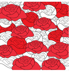 red roses floral pattern vector image vector image