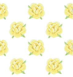 seamless pattern with cross stitch yellow roses vector image