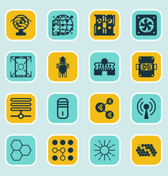 set of 16 robotics icons includes information vector image vector image