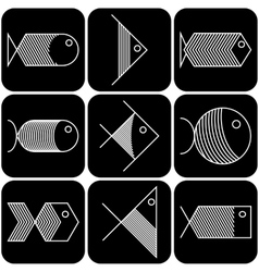 Set of white fish icons on black background vector