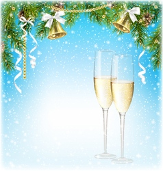 Shiny christmas background with sparkling wine vector