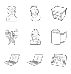 Smart tv icons set outline style vector