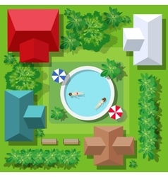 Top view of the swimming pool vector