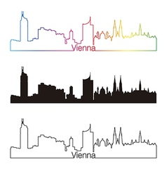 Vienna skyline linear style with rainbow vector