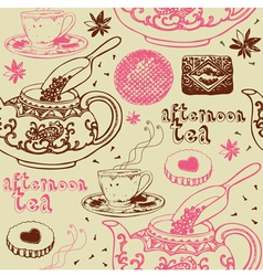 Vintage Afternoon Tea Background vector image