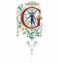 vintage letter g vector image