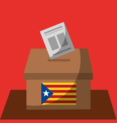 Vote box ballot catalonia flag separatism vector