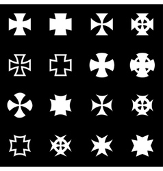 White choppers crosses icon set vector