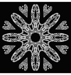 White ornate round pattern on black vector