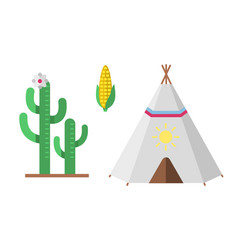 wild west american indian designed element vector image