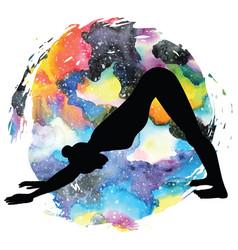 women silhouette adho mukha svanasana downward vector image