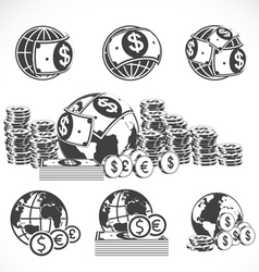 World and money icons set vector image