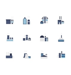 Factory blue flat style icons set vector