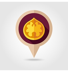 Walnut flat pin map icon fruit nut vector