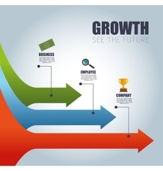 Arrow infographic growth see the future vector