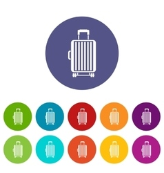 Suitcase on wheels set icons vector