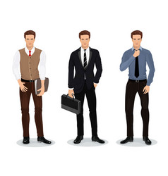 Men in stylish clothes set of businessmen vector